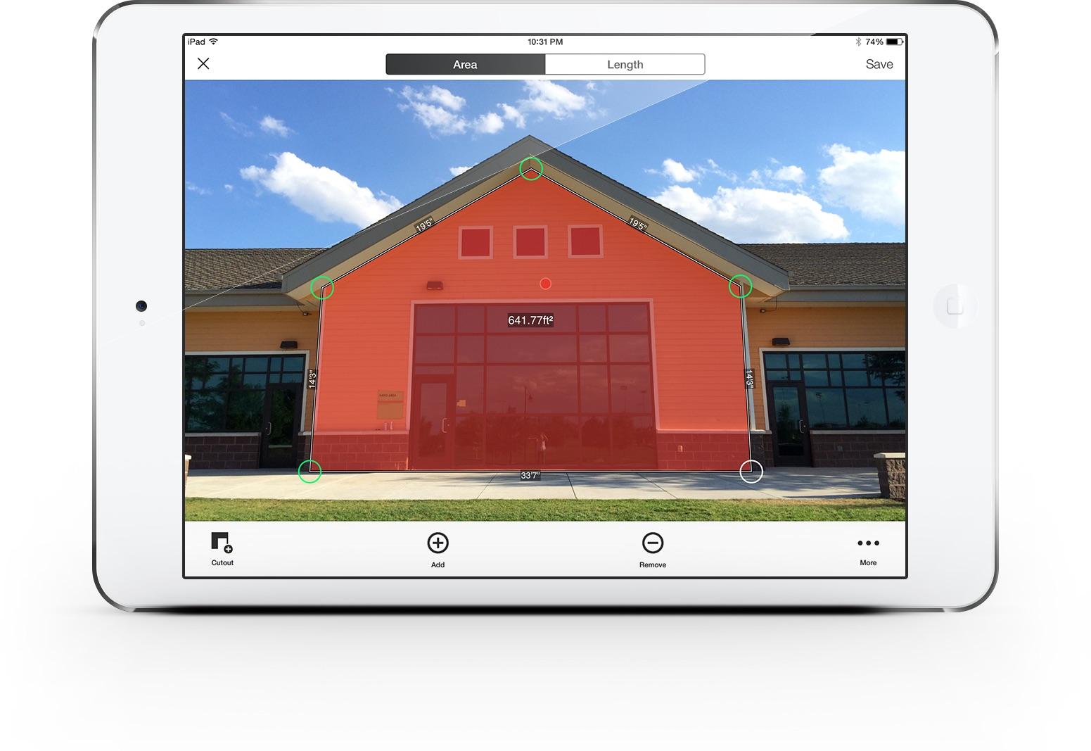 Измерване на фасада с витрини със Spike